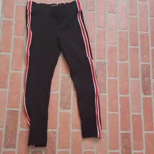 Zara Red Striped Skinny Pants